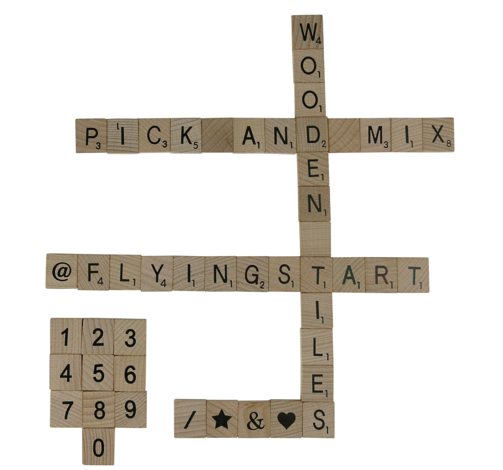 Wooden Scrabble Letters Numbers and Symbols Pick and Mix from 1 - 1000 UK Seller