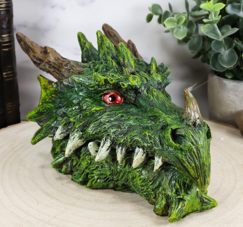 Ebros Fantasy Greenman Spiked Tree Dragon Head Decorative Jewelry Box Figurine