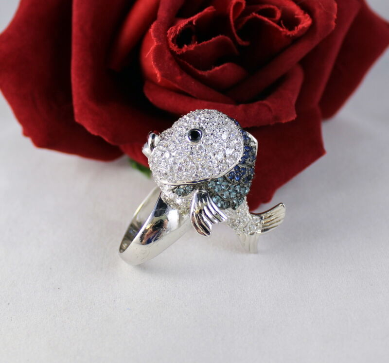 Sterling Silver Sparkling HIGH END Fish  17g  Ring Size 8  CAT RESCUE