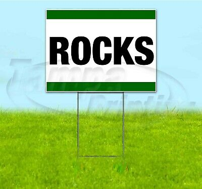 Rocks 18x24 Yard Sign With Stake Corrugated Bandit Usa Business Sale Landscaping