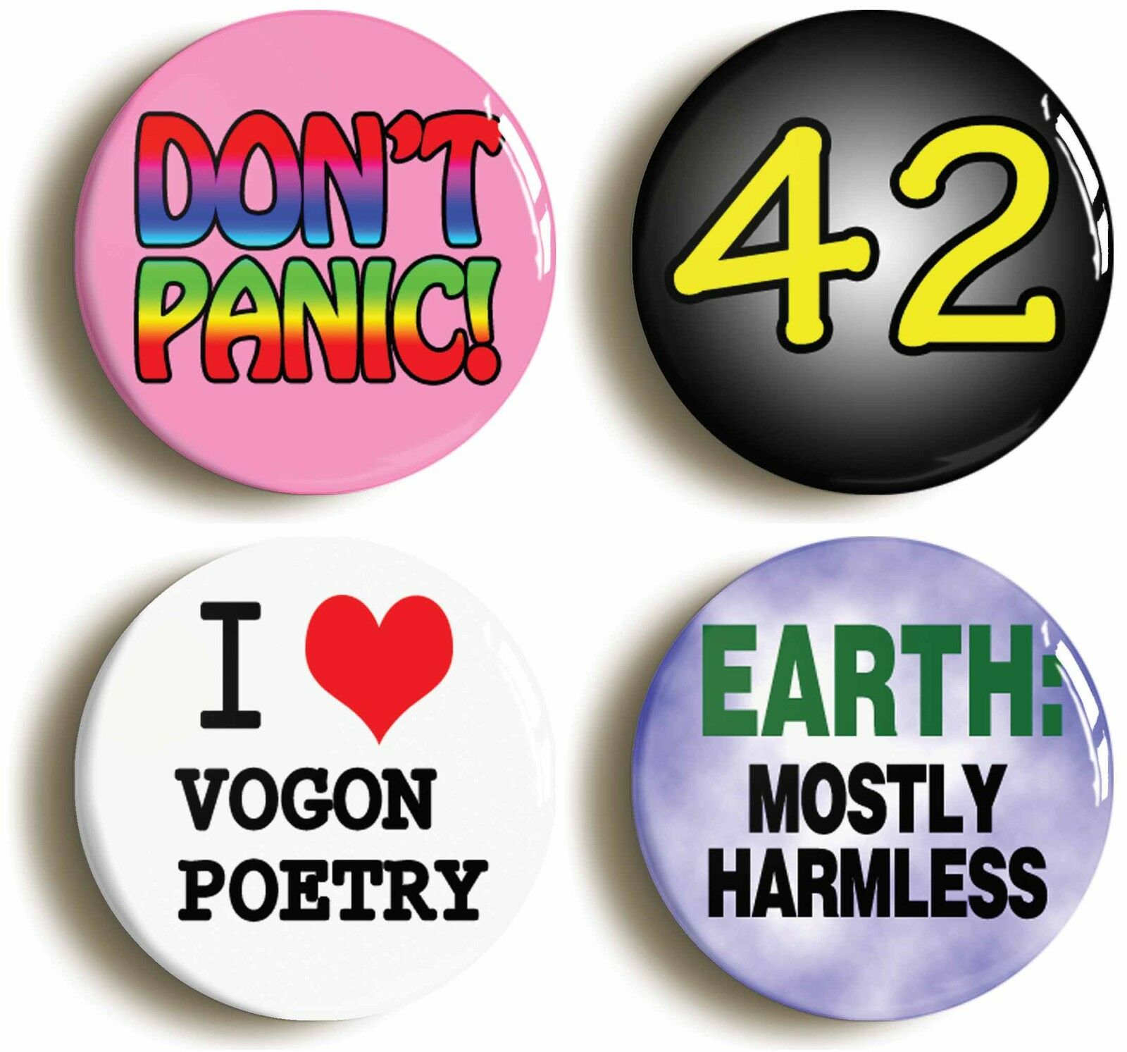 dont panic 42 mostly harmless badge button pin set (size is 1inch/25mm diameter)