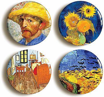 4 x vincent van gogh badge button pins (1inch/25mm diameter) art sunflowers