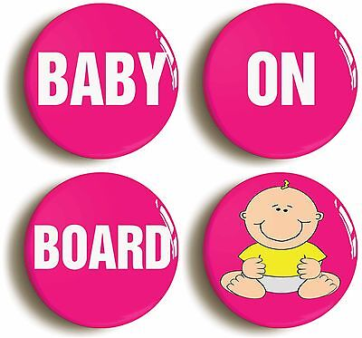 baby on board badge button pin set (size is 1inch/25mm diameter) new mum shower