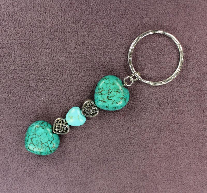 BLUE MAGNESITE CELTIC HEART KEY CHAIN Ring Silver Genuine Veined Stones Rock Gem