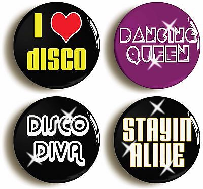 SEVENTIES DISCO BADGE BUTTON PIN SET (Size is 1inch/25mm diameter) 1970s - Seventies Disco