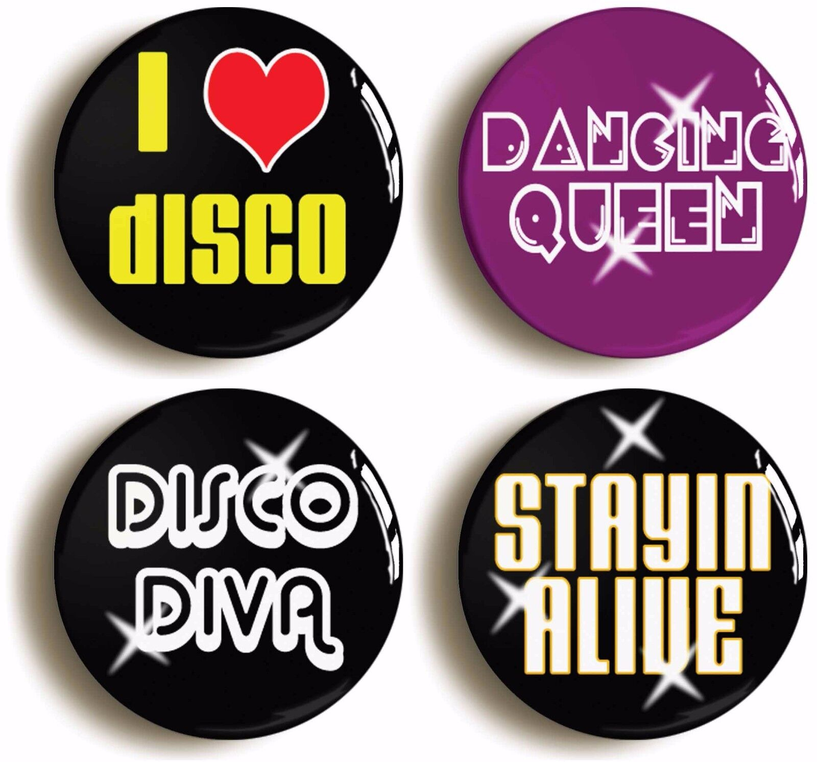 seventies disco badge button pin set (size is 1inch/25mm diameter) 1970s costume