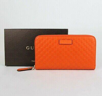 Gucci Women's Sun Orange Microguccissima Leather Zip Around Wallet 449391 7527