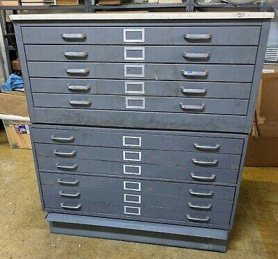 2 Vintage Steel 5 Drawer Flat File Filing Cabinet Blueprint Artbase