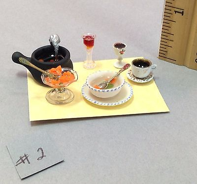 Dollhouse 1/12th scale Halloween place setting of soup & drinks for a witch #2 - Places For Halloween