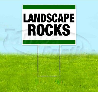 Landscape Rocks 18x24 Yard Sign With Stake Corrugated Bandit Usa Business Sale