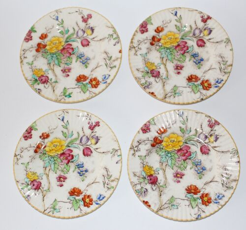 BOOTHS China PLATES Tapestry Bread & Butter 4 Antique Floral Pattern ENGLAND
