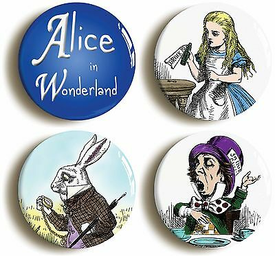 4 x alice in wonderland badges buttons pins (size is 1inch/25mm diameter)