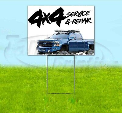 4x4 Service And Repair 18x24 Yard Sign With Stake Corrugated Bandit Usa Mechanic