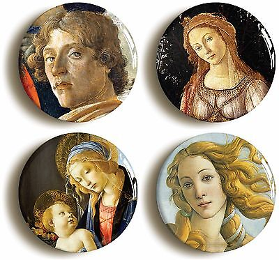 sandro botticelli badge button pin set (size is 1inch/25mm diameter) renaissance