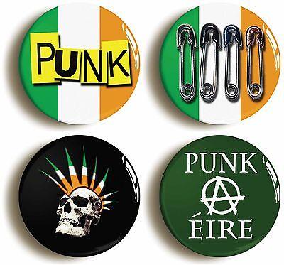4 x irish punk badge button pins (size 1inch/25mm diameter) seventies �ire 1970s