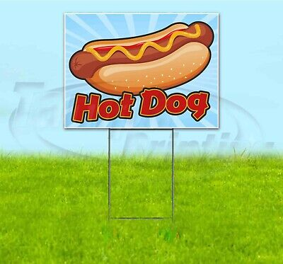 Hot Dog 18x24 Yard Sign With Stake Corrugated Bandit Usa Business Food
