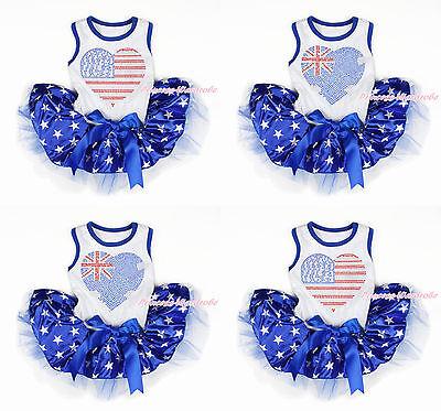 4th July Rhinestone USA AU Heart Print White Sleeveless Patriotic Star Dog Dress ()
