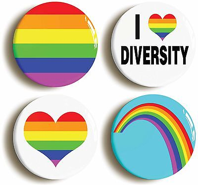 diversity lgbt gay pride badge button pin set (size is 1inch/25mm diameter)