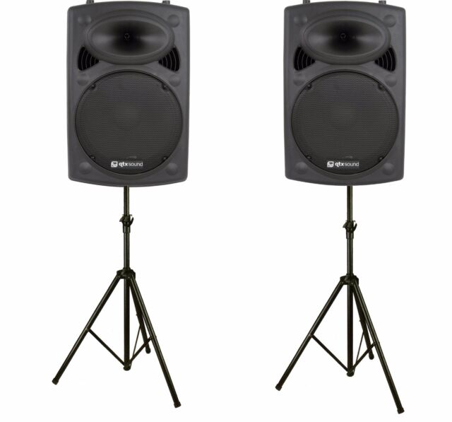 QTX QR12K 12″, 600W ACTIVE ABS DISCO DJ PA SPEAKERS WITH STANDS - PAIR