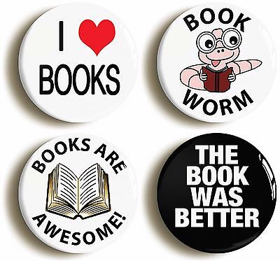 book lover badge button pin set (size is 1inch/25mm diameter) club librarian