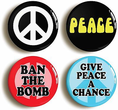 4x peace badges buttons pins (size 1inch/25mm diameter) sixties anti war protest