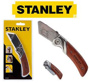 STANLEY Wooden Work Folding Trimming Pocket Utility Lock Knife No Blades, 010073