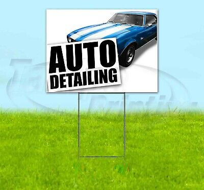 Auto Detailing 18x24 Yard Sign Corrugated Plastic Bandit Lawn Business Usa Cars
