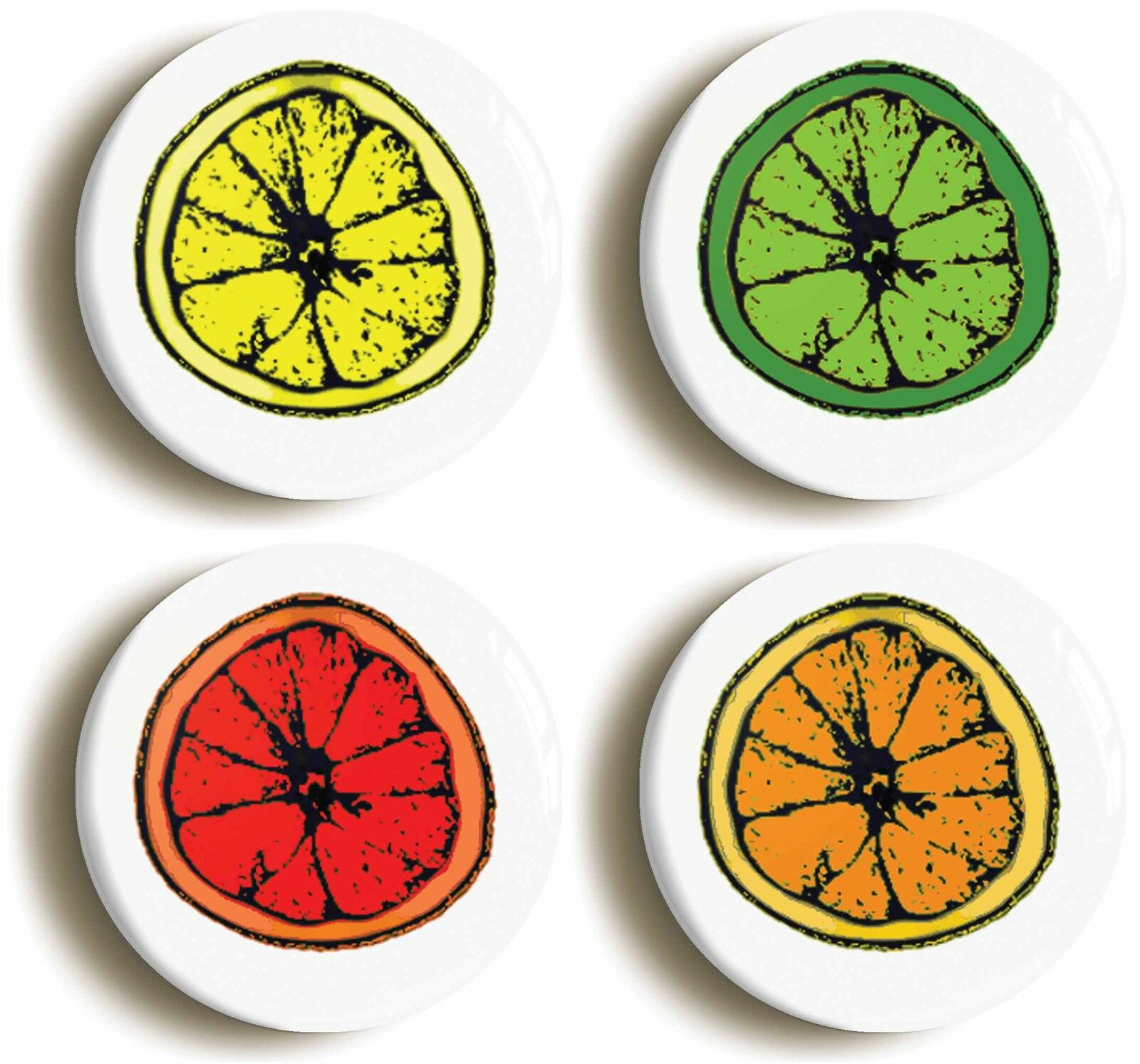 lemon lime orange slice logo badge button pin set (size is 1inch/25mm diameter)