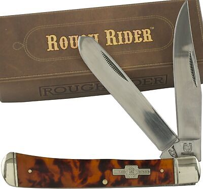 Rough Rider Imitation Tortoise Shell Handles Trapper Pocket Knife RR512 2 Blades Blades Tortoise Shell