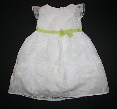 Gymboree Mädchen 2t (Neu 2T Gymboree Mädchen Blumen Bestickt Organza Kleid Weiß mit Schleife Nwt)