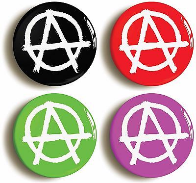 4 x punk anarchy badges buttons pins (size is 1inch/25mm diameter)