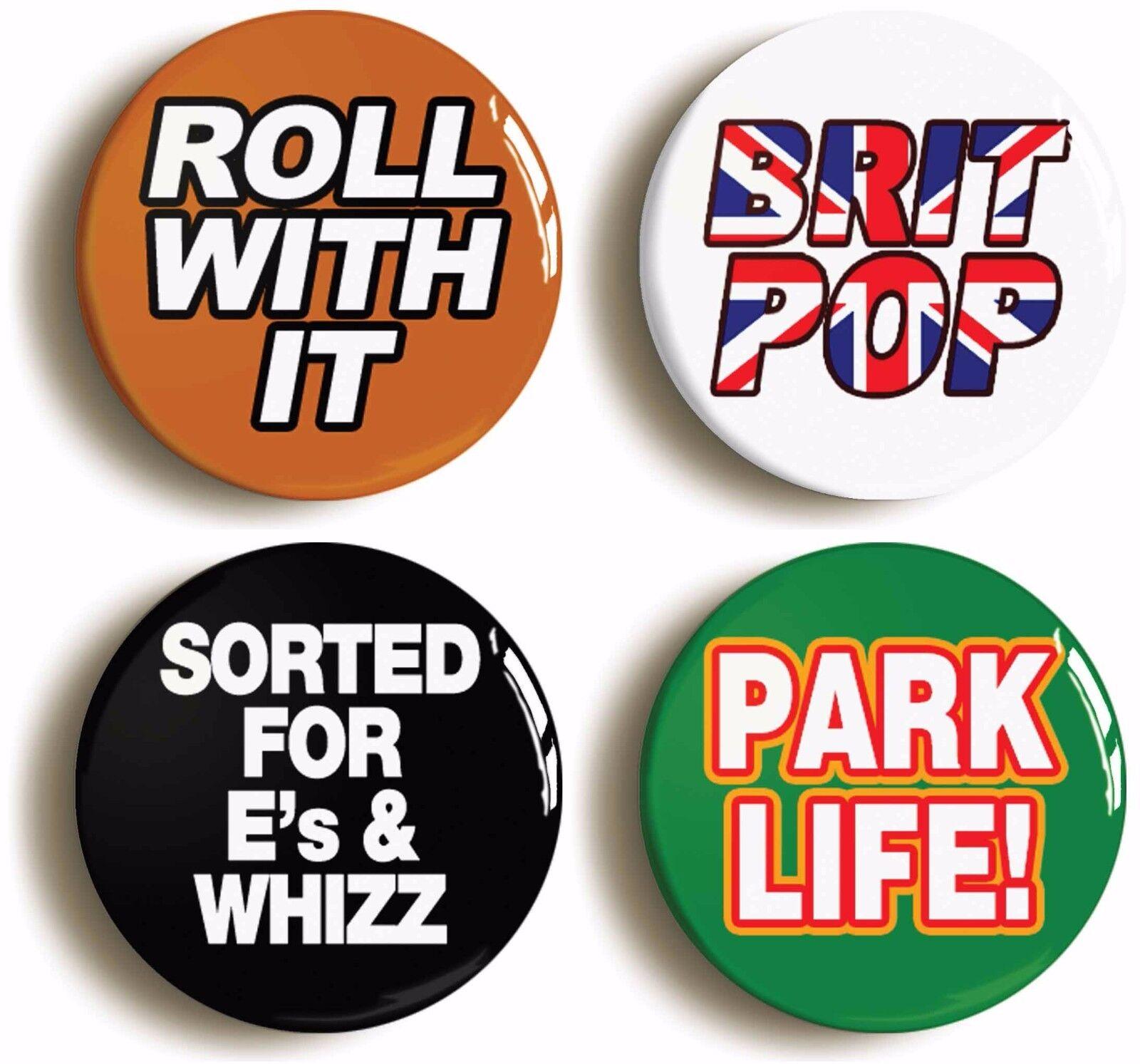 4 x britpop badges buttons pins (size is 1inch/25mm diameter) nineties