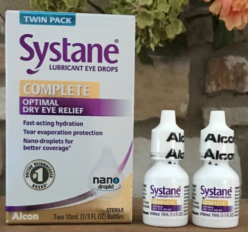 2 Twin Packs Systane Complete Optimal Dry Eye Relief Lubricant Drops  EXP 10/21+
