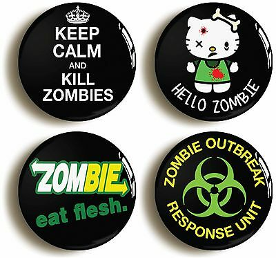 4 x zombie badges buttons pins (1inch/25mm diameter) apocalypse halloween geek