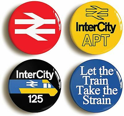 4 x british rail railways intercity badges buttons pins (1inch/25mm diameter)