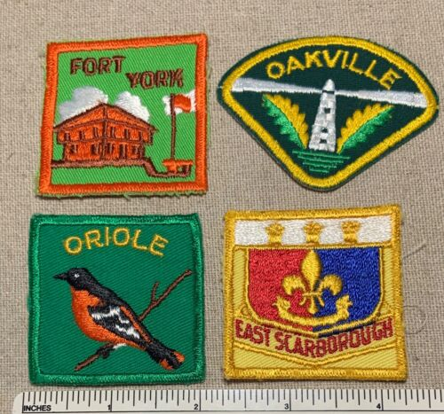 4 Vintage CANADIAN SCOUTS Boy Scout Badge PATCHES Small Canada District ? Camp