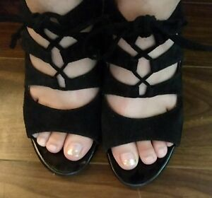 Size 6 Black Leather Wedges