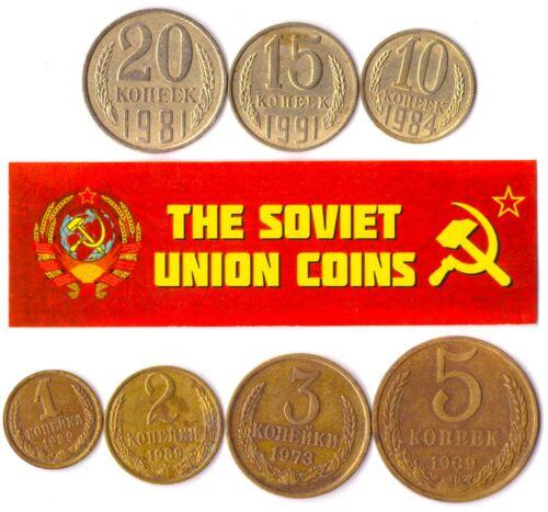 7 USSR COINS. DIFFERENT SOVIET UNION COINS 1-20 KOPEKS SET. COMMUNIST COINS