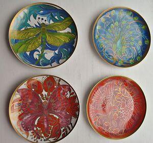 set of 4 pottery barn art nouveau decorative salad dessert 8 034 plates rare ebay. Black Bedroom Furniture Sets. Home Design Ideas