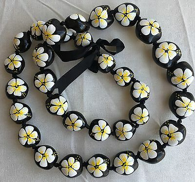 Kukui Nut Lei Hibiscus WHITE Flower Necklace Hawaiian Wedding Luau Graduation