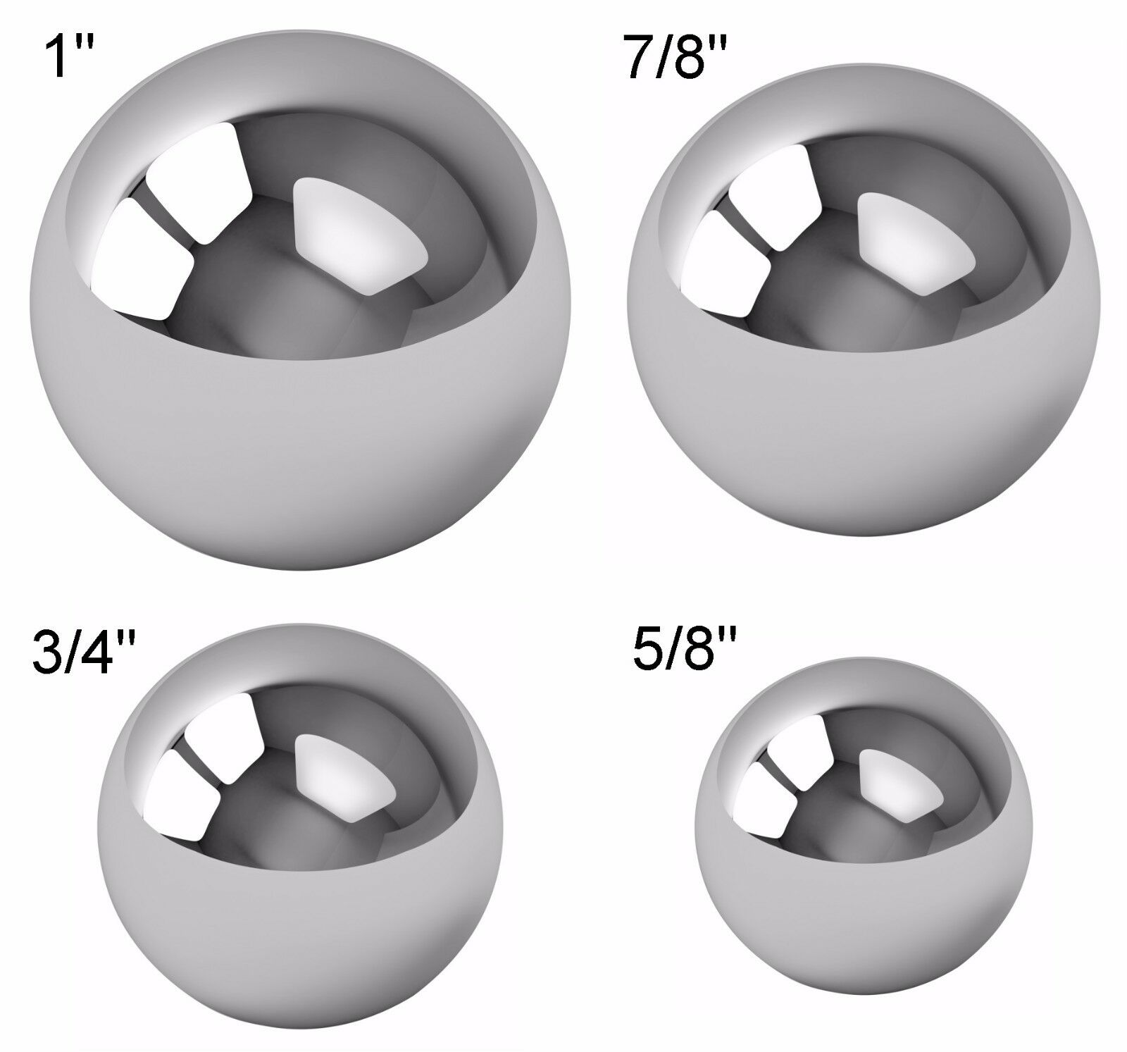 Assorted Coin Ring Making Steel Balls – Assortment Of 1″, 7/8″, 3/4″ & 5/8″ Bearing & Bushing Parts
