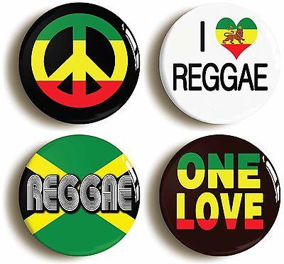 4 x reggae badge button pins (1inch/25mm diameter) rasafarian jamaica