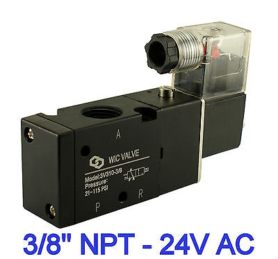 Pneumatic 3 Way Electric Directional Control Air Solenoid Valve 24v Ac 38 Inch