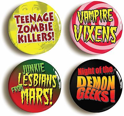 fifties b movie badge button pin set (size 1inch/25mm diameter) vampire zombie
