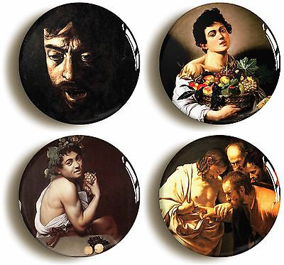 caravaggio badge button pin set (size 1inch/25mm diameter) renaissance baroque