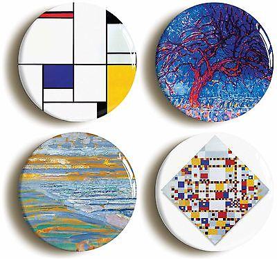 piet mondrian badge button pin set (size is 1inch/25mm diameter) de stijl cubist