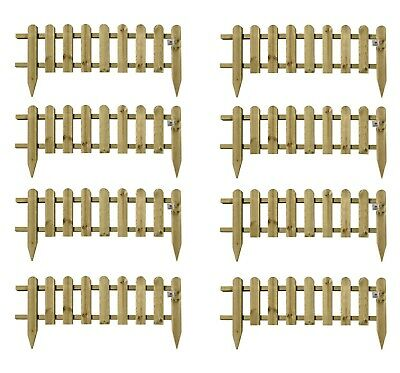 Wooden Panel Picket Fencing Garden Wood Path Panel Border Fence Set of 8