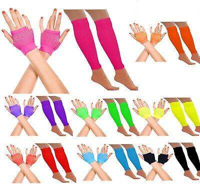Neon Fischnetz (Damen Neon Shorts Fischnetz Handschuhe Plus Bein Wärmer 80s Jahre Kostüm Disko)
