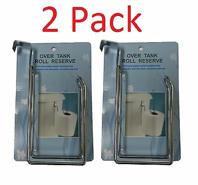 2 x RESERVE TOILET PAPER HOLDER Over The Tank Hanging Metal Tissue Roll Storage Hang Toilet Paper Holder