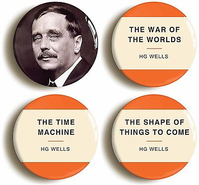 hg wells badge button pin set (size is 1inch/25mm diameter) science fiction sf